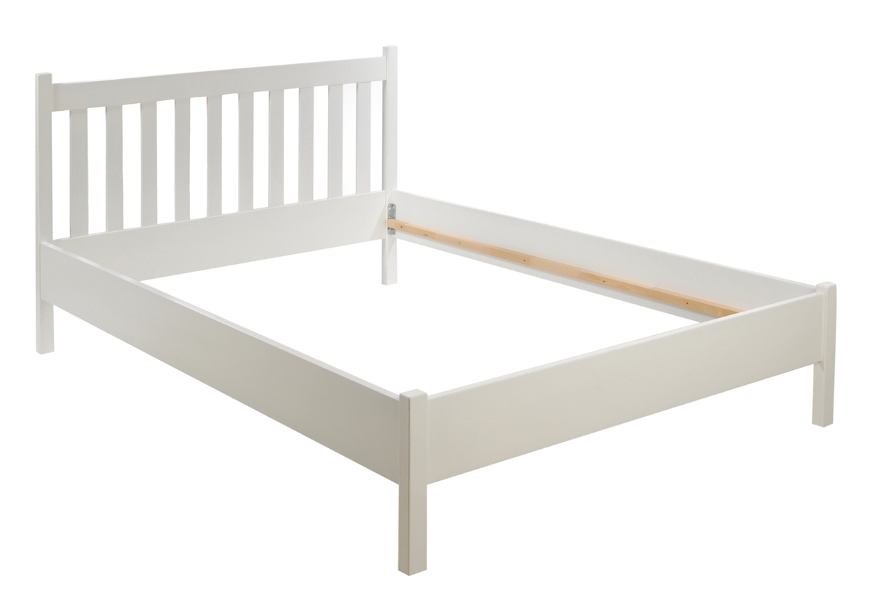 Image of white wooden bed frame